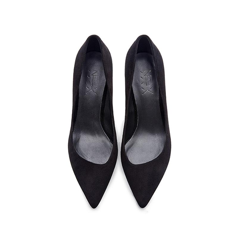 烫社交女鞋2019春季黑羊猄真皮尖头细高跟鞋职业面试工作单鞋女