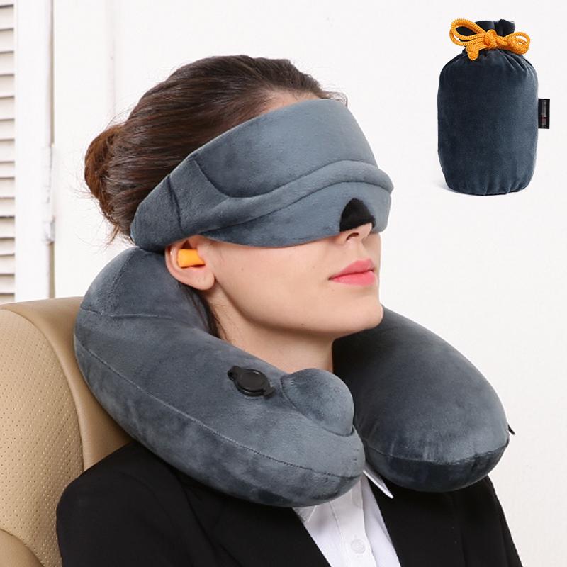 商旅寶 旅行飛機u型枕護頸枕旅遊頸椎枕午睡枕頭自動充氣枕頭套裝
