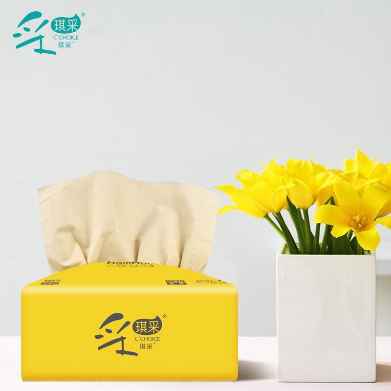 采琪采27包本色抽纸批发整箱家用卫生纸巾面巾纸家庭实惠装餐巾纸