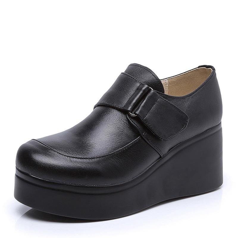 四季真皮单鞋2021春季新款松糕女鞋休闲厚底深口坡跟高跟牛皮皮鞋主图