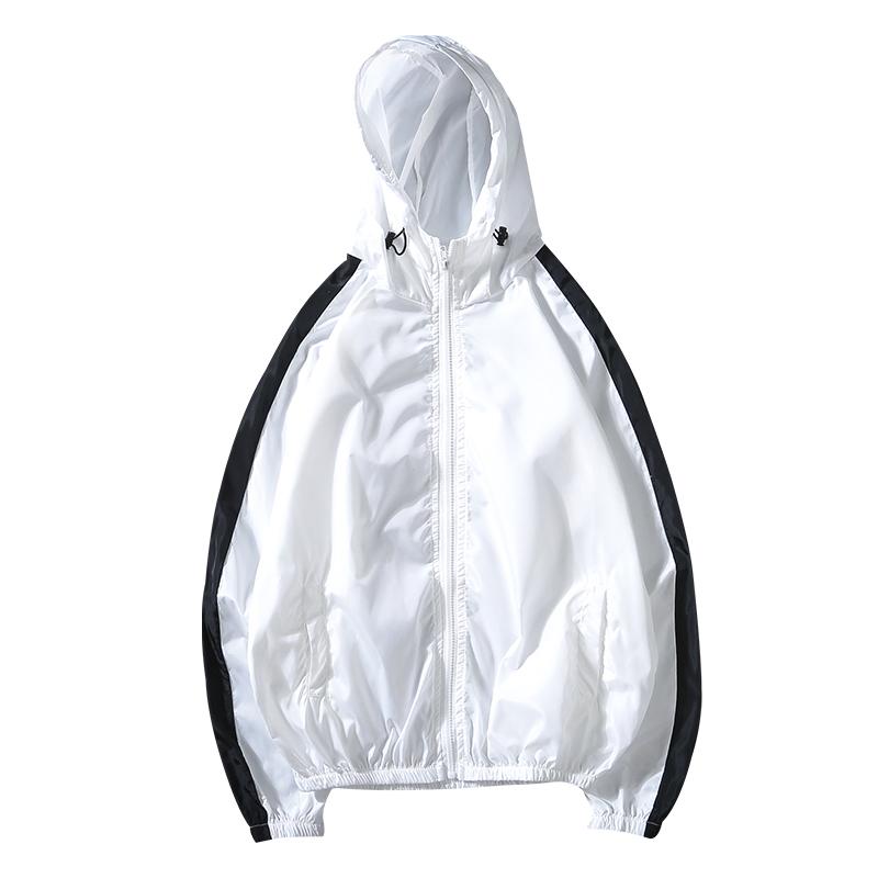 户外夏季黑白防晒衣男外套薄款透气防晒服撞色运动风衣连帽钓鱼服