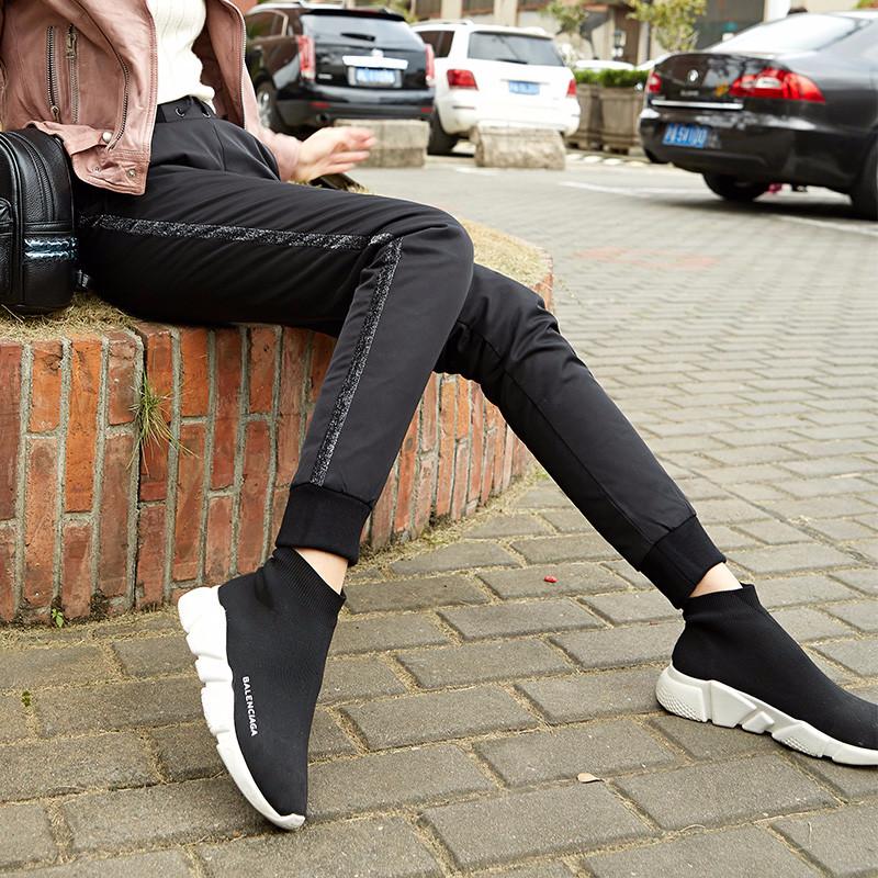 冬季新款羽绒裤女外穿高腰显瘦保暖加厚大码白鸭绒女士加绒棉裤子
