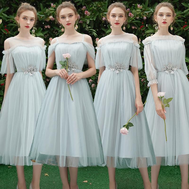 灰色伴娘服女2019新款夏季仙气质中长款姐妹团礼服显瘦毕业伴娘裙