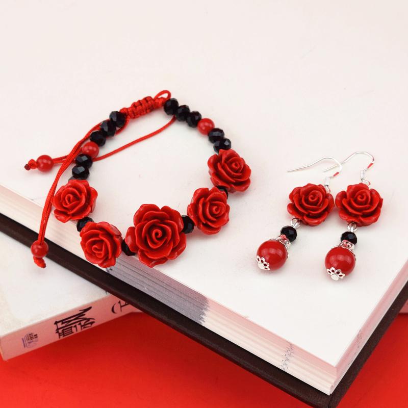 中国风特色外事出国礼品北京雕漆传统手工艺品手链耳坠项链玫瑰花