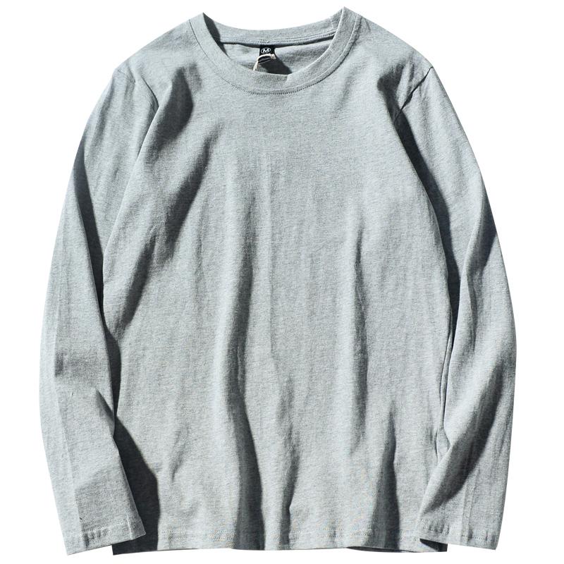 21韩国ins复古基础款纯色秋季打底衫内搭纯棉百搭男女长袖T恤bf风