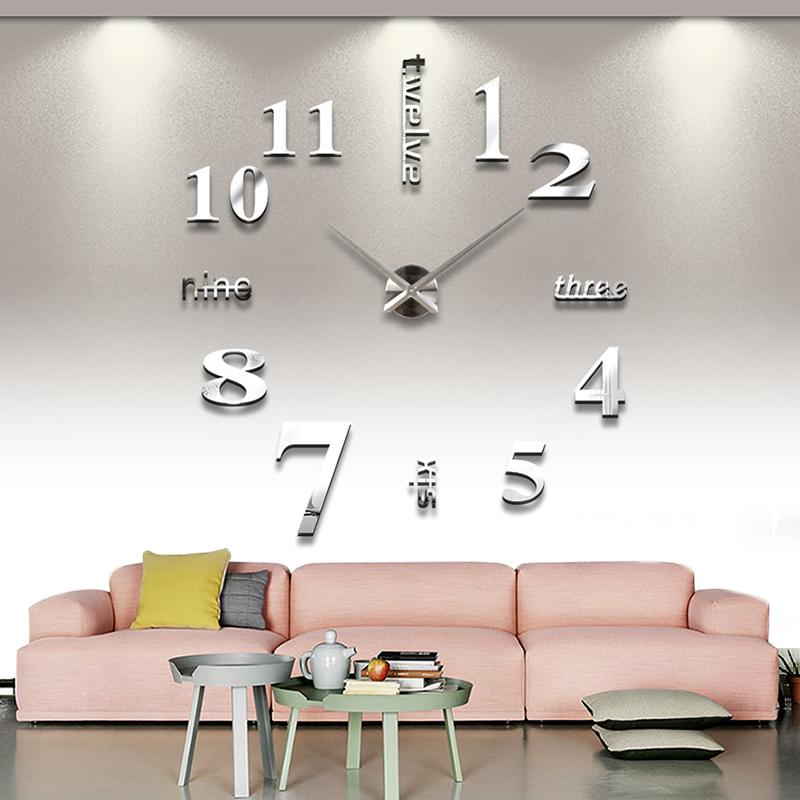 客廳大掛鐘表靜音3D立體創意藝術牆貼鐘錶DIY鐘錶時尚數字掛鐘