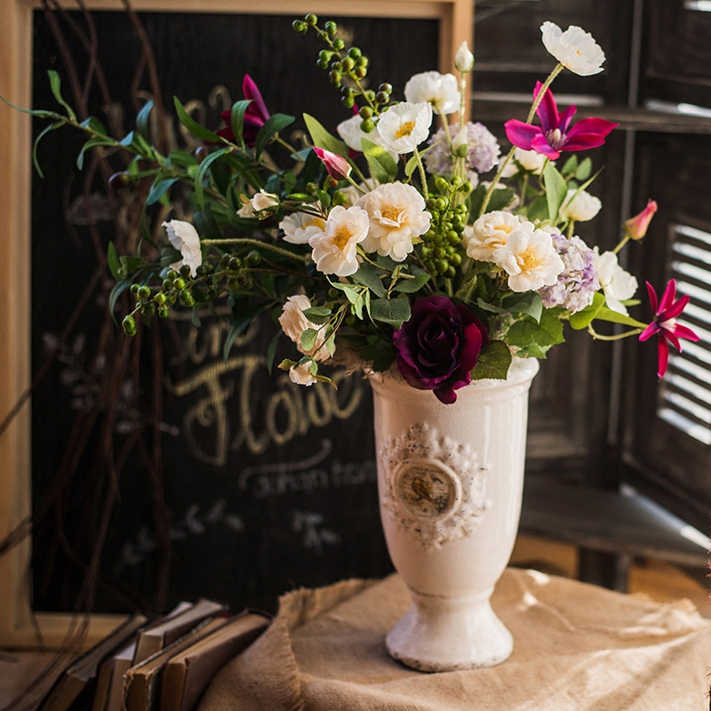艾汀设计师花束仿真花艺套装摆件装饰新娘手捧花桌花礼物 掬涵