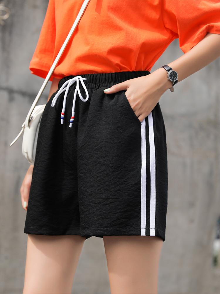 运动短裤女夏季宽松外穿2021新款高腰韩版速干跑步居家睡裤五分裤主图