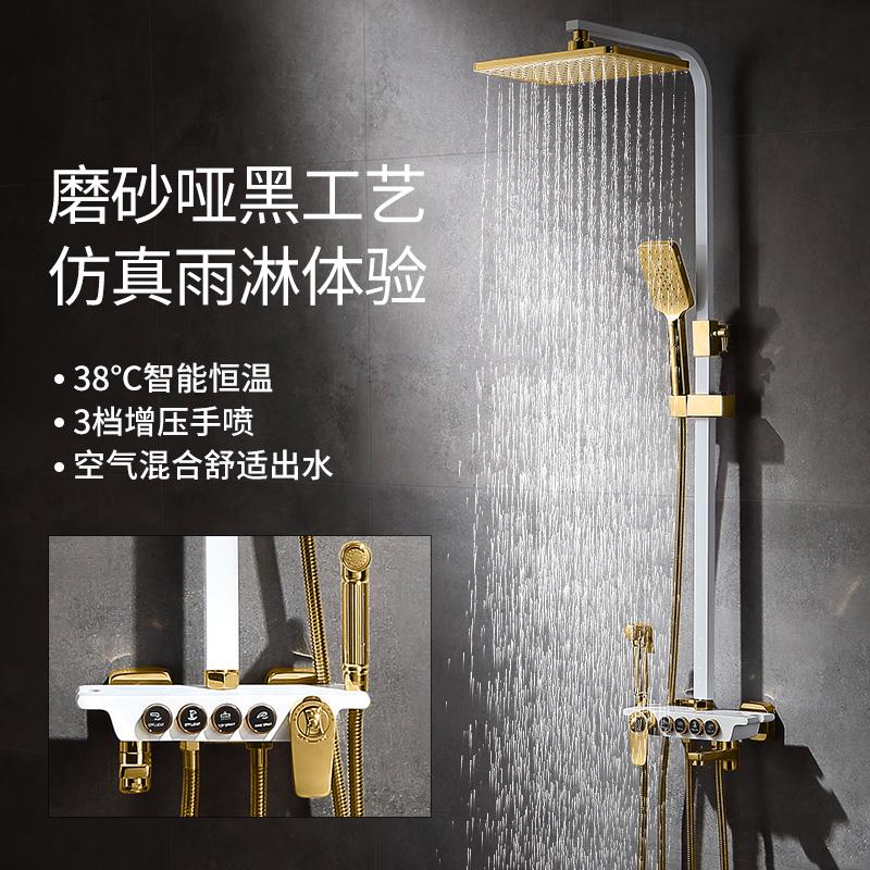 德国淋浴花洒套装全铜家用卫生间挂墙式浴室增压控制沐浴恒温花洒