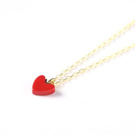 日本小众小红心项链女网红色爱心吊坠桃心925纯银18k金锁骨链颈链
