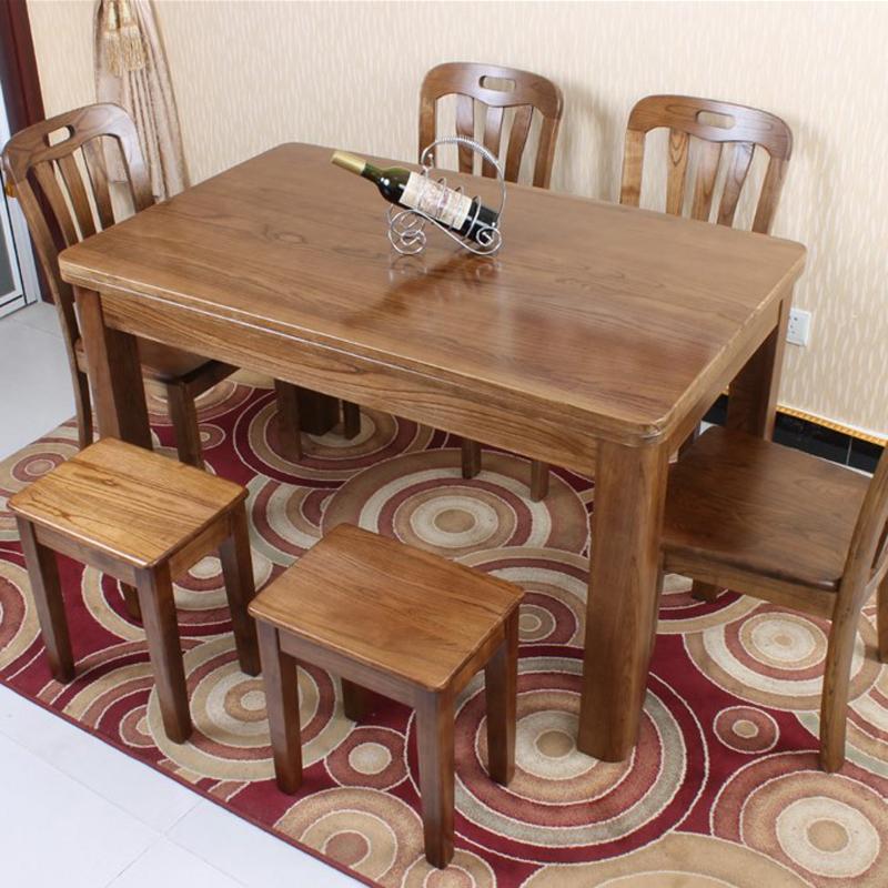 北欧简约原木餐桌全实木长方形餐桌水曲柳现代中式饭桌餐桌椅组合