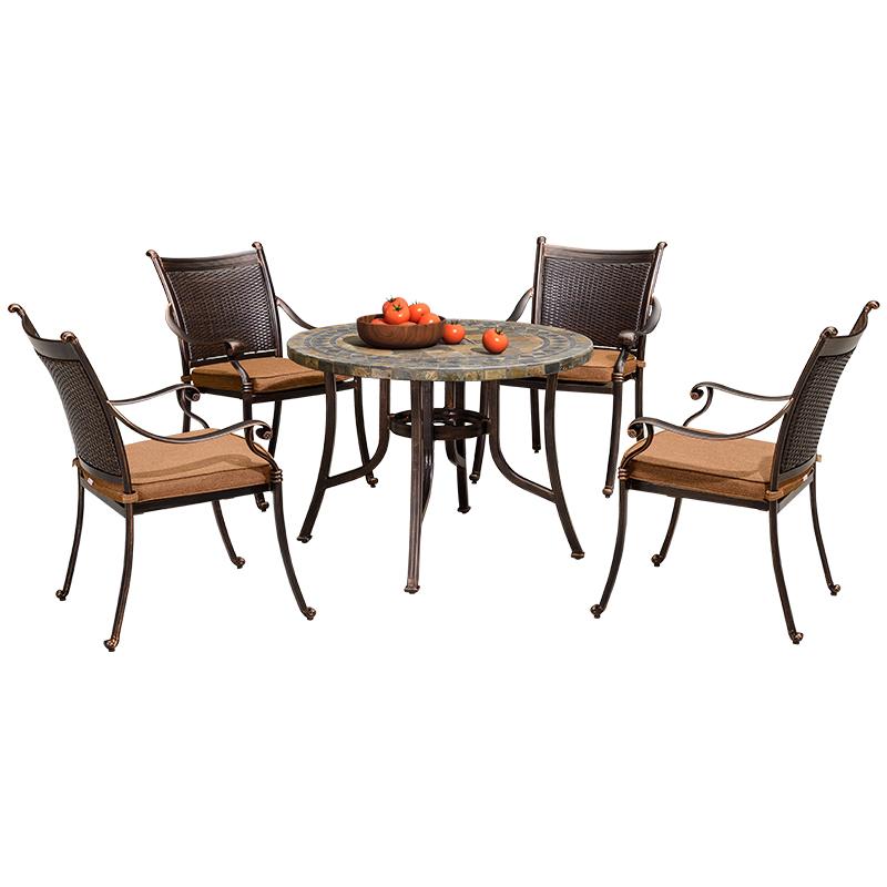 紫叶户外铸铝桌椅组合五件套阳台藤椅庭院花园露台休闲桌椅腾椅