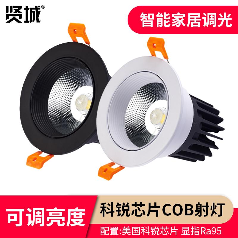 贤城led射灯可控硅0-10V/DALI调光cob科锐芯片高显指洗墙灯7w12w