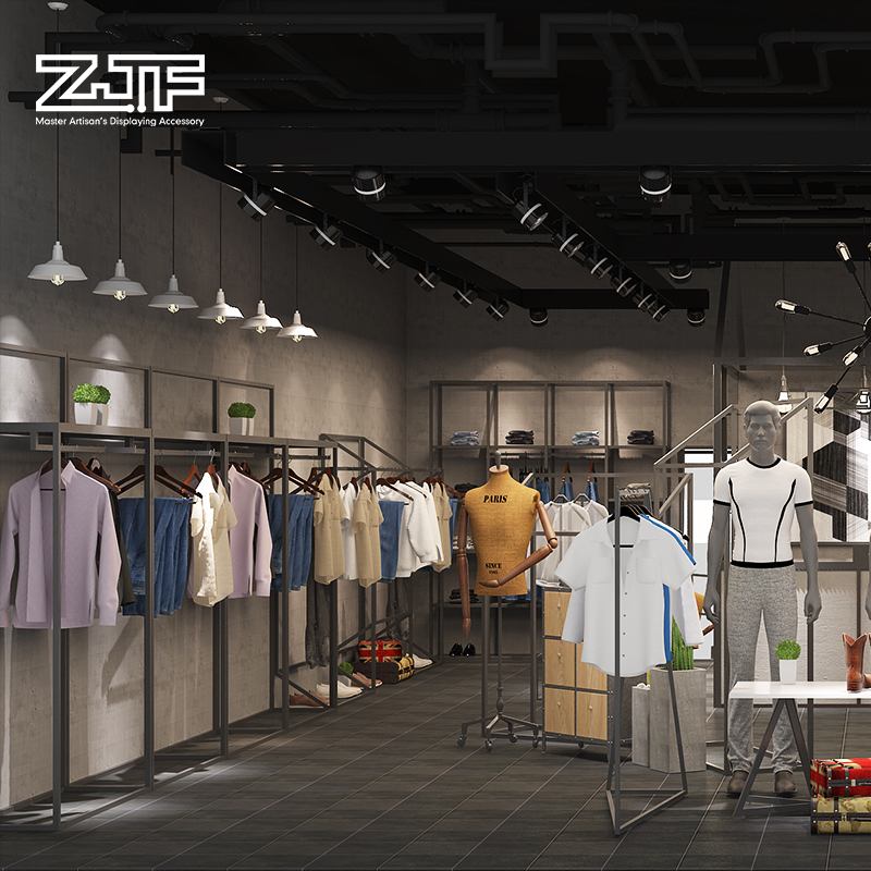 众匠坊ZJF 男装铁艺展示架上墙简约陈列架落地式货架服装店装修D3