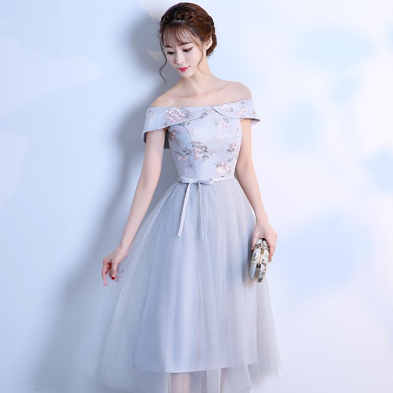 伴娘礼服女2019新款韩式灰色中长款姐妹团伴娘裙仙气质显瘦婚礼春