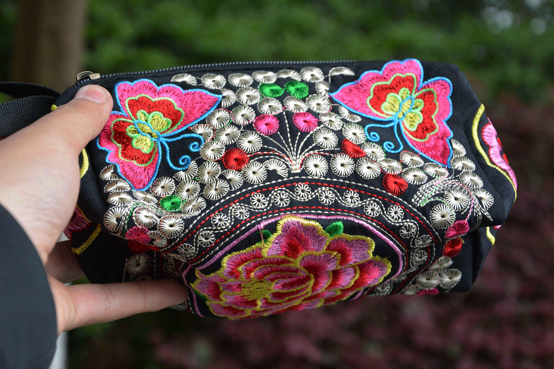 云南民族风三层手拿女钱包迷你小方包女士帆布刺绣花包手拿包