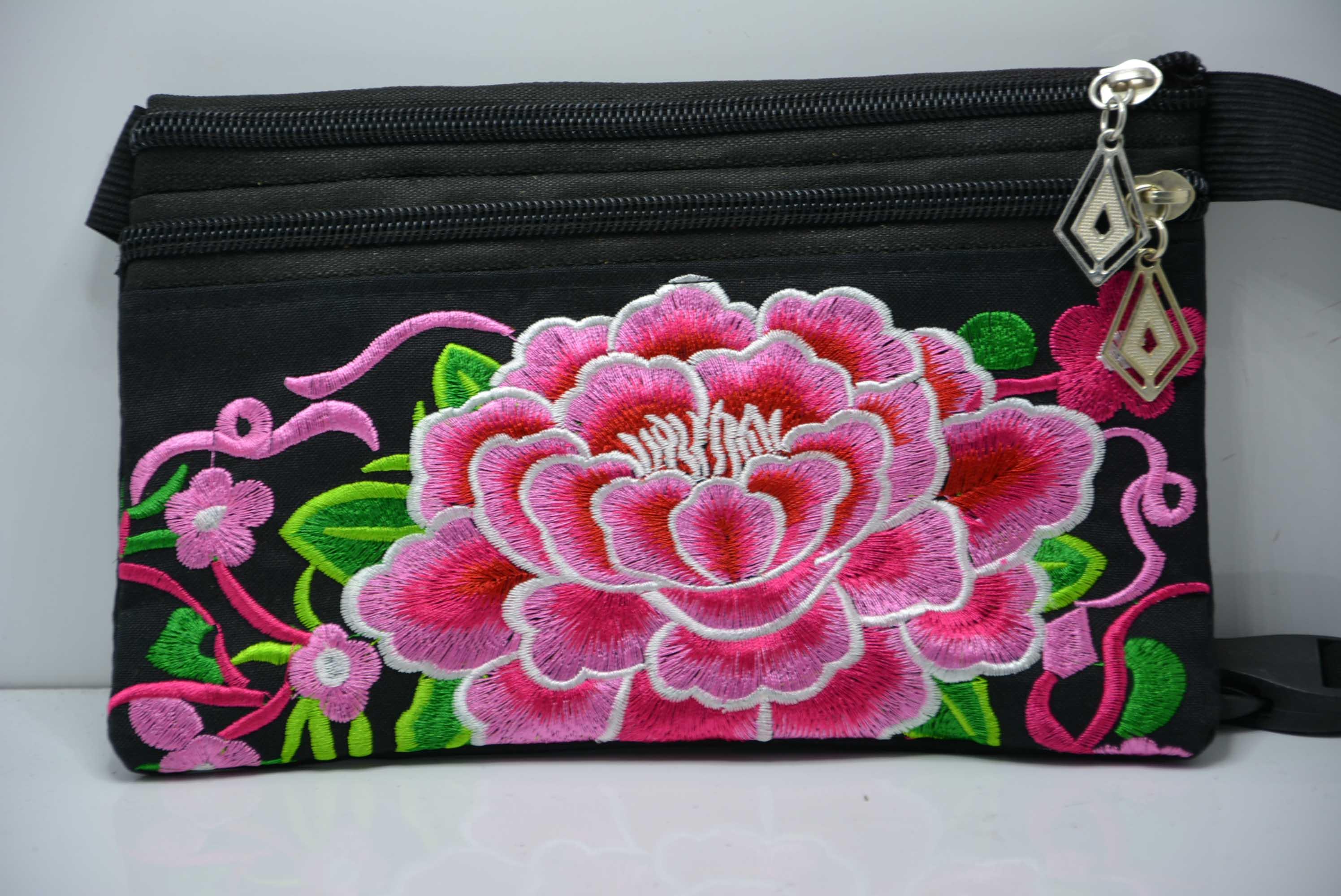 民族風繡花包刺繡帆布運動跑步臂包女戶外手機包旅行便攜貼身腰包