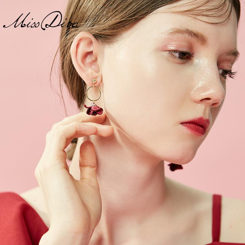 桔梗 个性不对称耳饰品女潮几何耳环夸张仿珍珠吊坠大气花朵耳坠