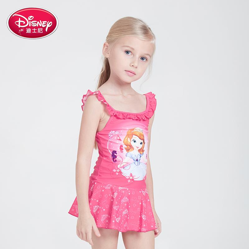 迪士尼女童泳衣儿童连体游泳衣小女孩公主裙中大童小吊带防晒泳装