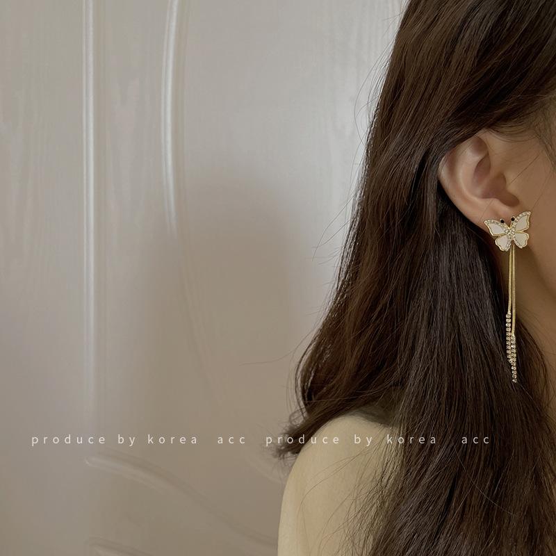 925银针贝壳镶钻链条耳环日韩风清新森系网红时尚简约个性设计感