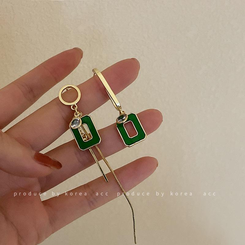 925银针不对称镶钻几何镂空方形耳环复古个性简约绿色气质百搭