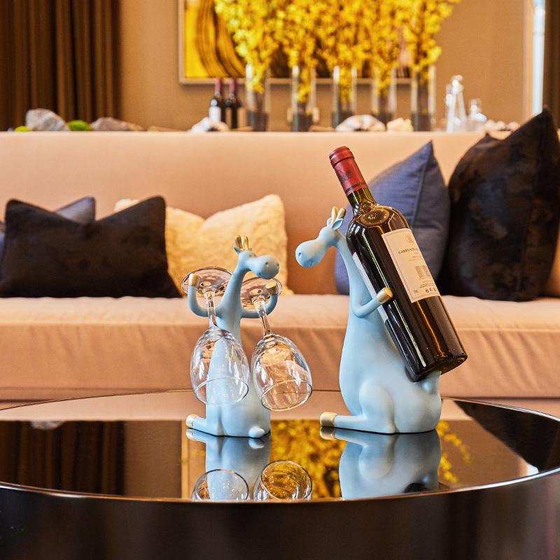 北欧麋鹿客厅创意红酒架子摆件装饰品电视柜酒柜搬家乔迁新居礼品