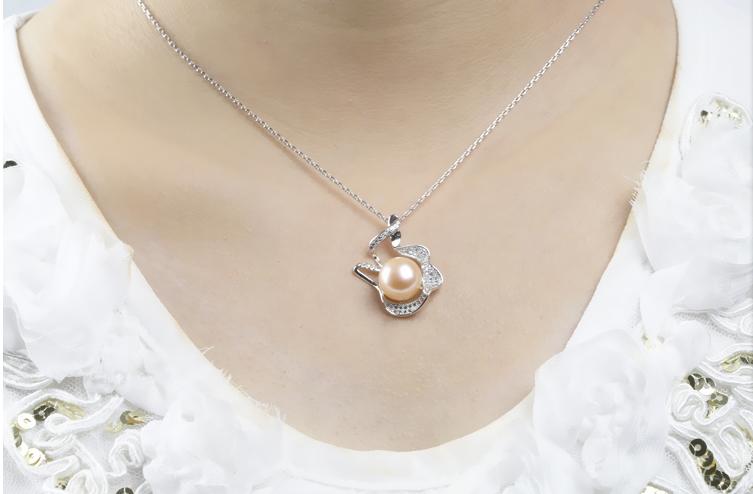 银链子女饰品 925 天然珍珠面粉紫珍珠吊坠项送