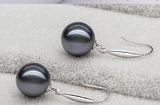 Natural Tahitian Black Pearl Earrings Pendant Set Black and White Jinzheng Round Glare 925 Tremella Hook Necklace