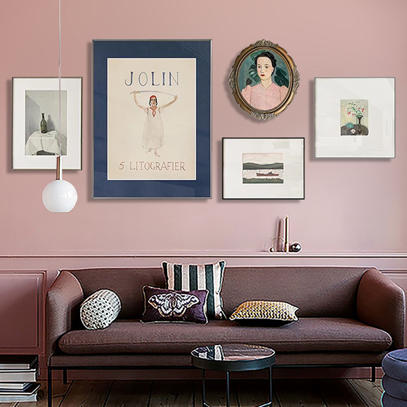 北欧风格装饰画小众复古挂画现代简约客厅轻奢沙发背景墙艺术壁画