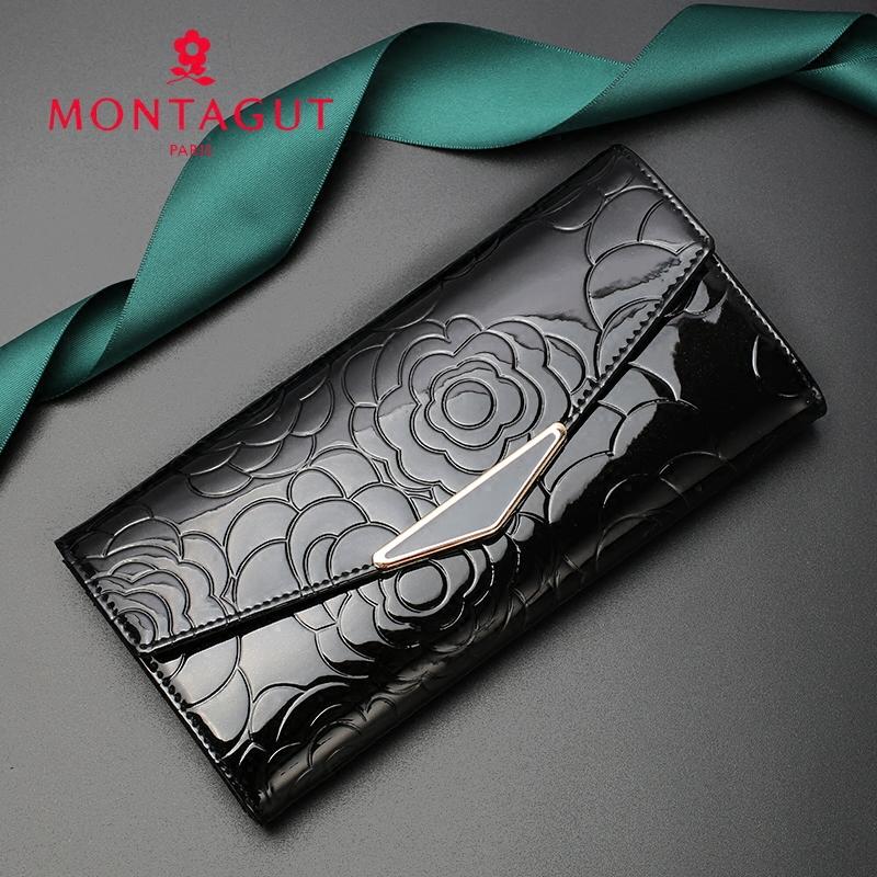 夢特嬌錢包女長款新款時尚韓版皮夾子簡約搭扣真皮手拿手機錢夾