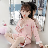 Girls nightdress cotton summer thin section little girl pajamas princess baby home service children spring and autumn lace