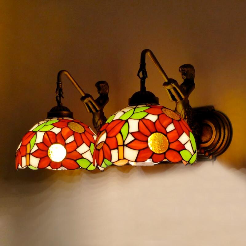 蒂凡尼美式复古LED镜前灯卫生间化妆镜前灯洗手台灯床头田园壁灯