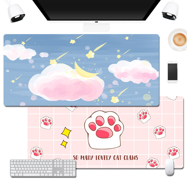 2021 calendar model large mouse pad game office seaming thickening custom keyboard pad men and women cute cartoon animation PS/CAD office writing computer desk pad creative customization smooth