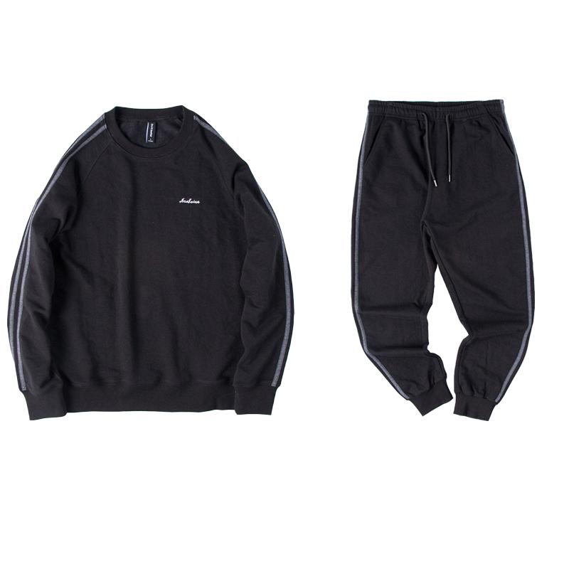 两条杠卫衣套装男士春秋季2019新款圆领休闲运动服两件套潮流一套