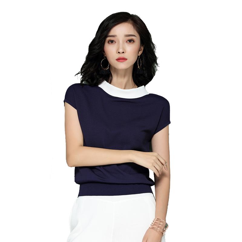 夏季冰丝针织衫女套头宽松短袖t恤薄款韩版娃娃领短款修身上衣