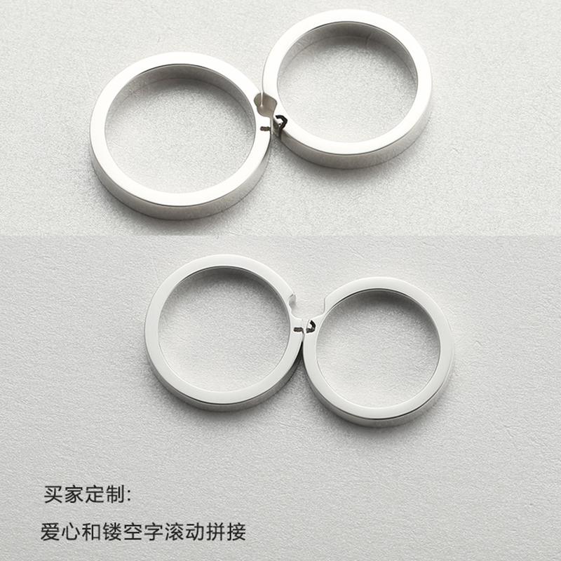 小众设计字母可修改戒指女 990  原创定制字母戒指 纯银情侣戒指一对