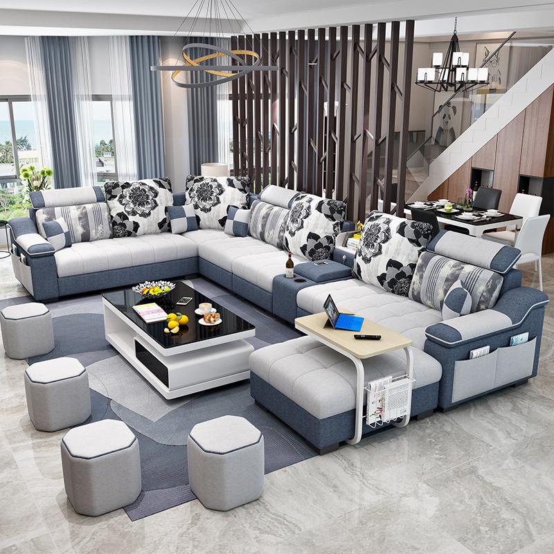 大小戶型客廳轉角整裝家具 型沙發組合 U 可拆洗 簡約現代布藝沙發