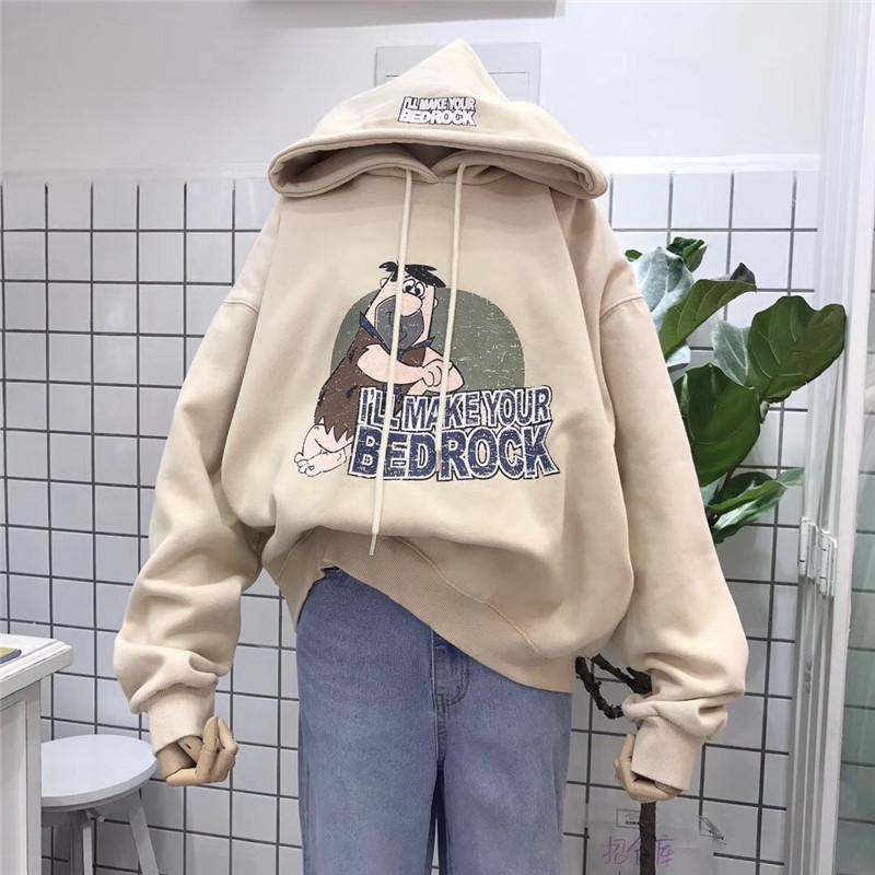 韩国ulzzang2019秋冬新款连帽卡通做旧印花时尚卫衣加绒保暖女潮