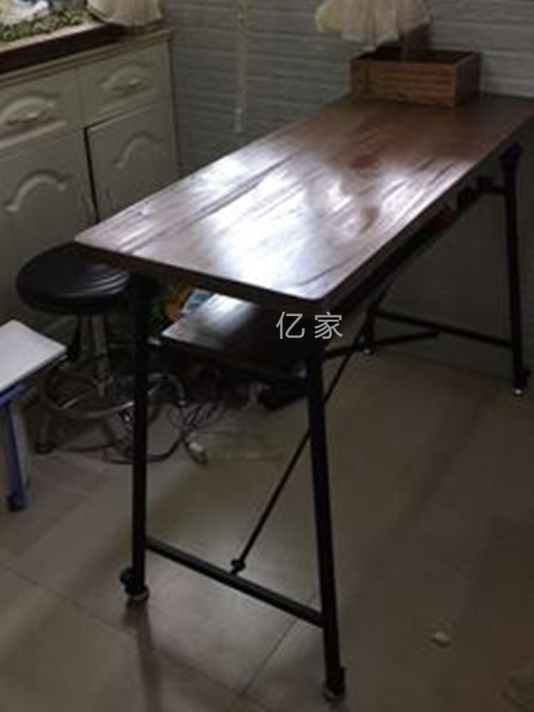 亿家居美式个性复古高档美甲桌椅美容桌铁艺实木双层单三人修甲台