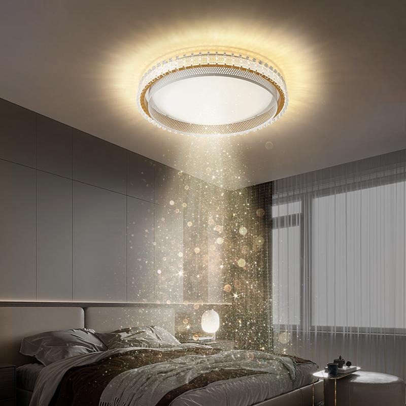 吸顶灯美式灯具 led 轻奢高档圆形大厅灯简约现代大气卧室灯 客厅灯