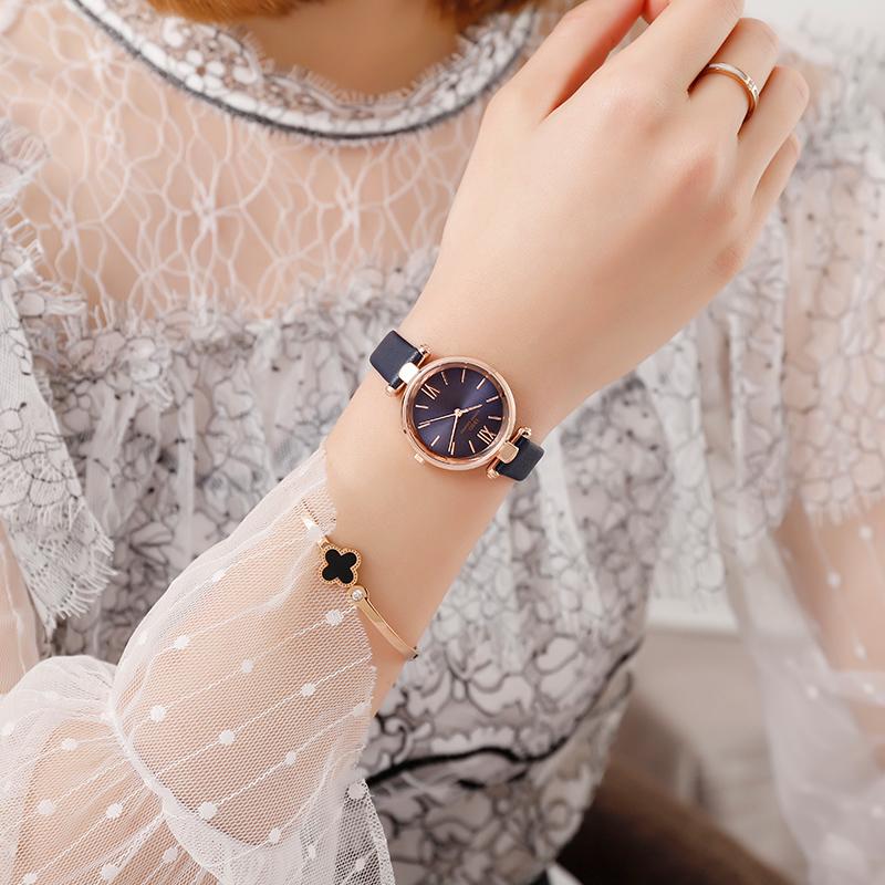 正品手表女简约复古皮带学生韩版潮气质女士手表女款时尚防水女表