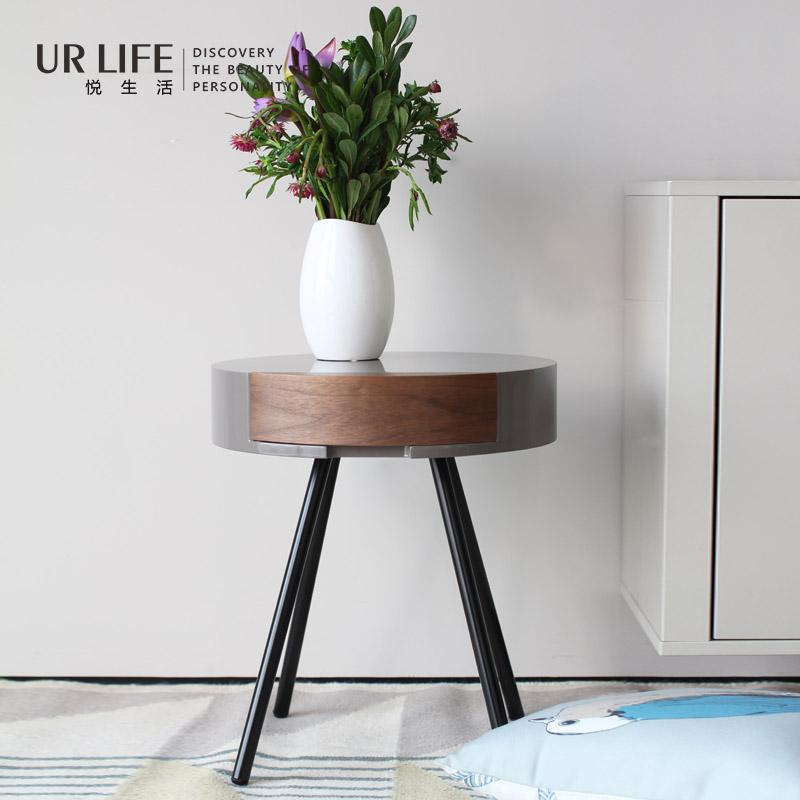 悅生活URlife簡約現代創意邊幾北歐客廳角幾沙發邊櫃圓形床頭櫃