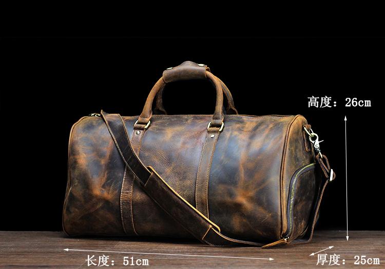 复古疯马皮男士手提真皮行李袋大容量单肩牛皮旅游旅行包短途出差