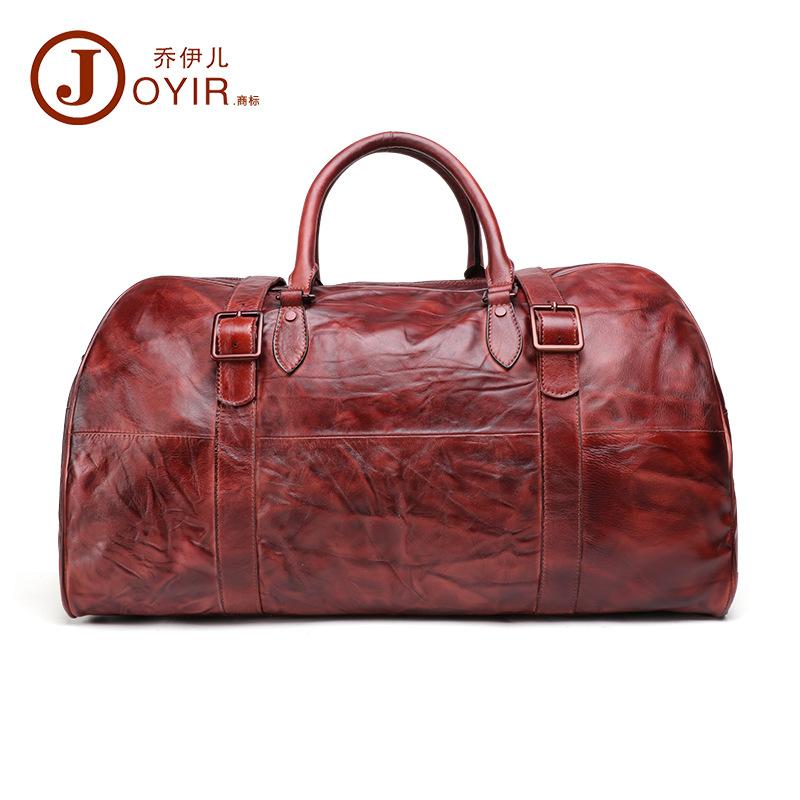 乔伊儿复古真皮男包行李袋大容量多功能手提旅行包运动时尚 joyir