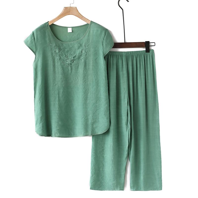 中老年服装女宽松奶奶装棉麻套装妈妈夏装衣服短袖上衣裤子两件套