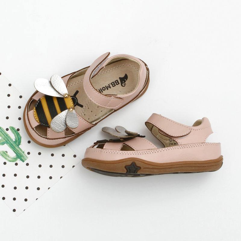 夏季新款女童包头凉鞋 可爱小童真皮内里女宝宝软底沙滩儿童鞋子