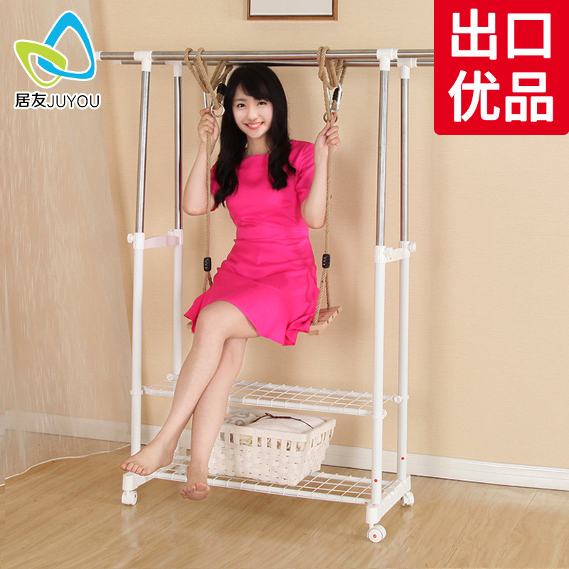 居友晾衣架落地雙杆式伸縮不鏽鋼室內涼衣架簡易晒衣架涼衣架晒架