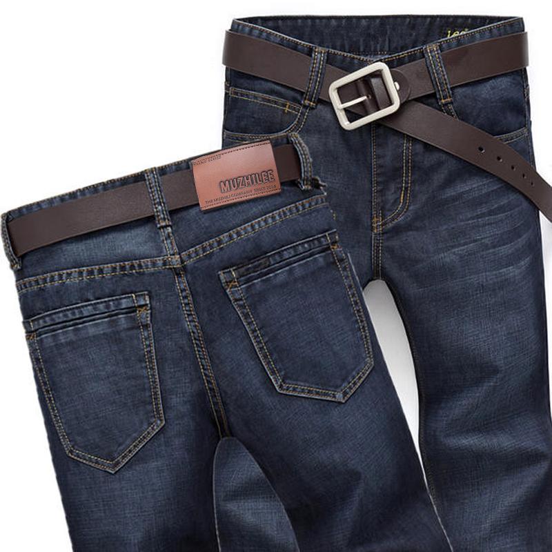 MUZHILEE牛仔裤男秋冬厚款直筒宽松弹力黑色春季薄款休闲潮男裤子
