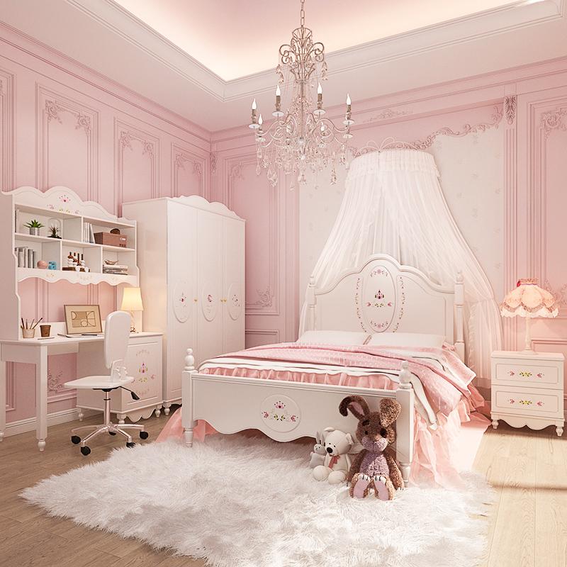 七叶木儿童床女孩 公主床小孩单人床儿童房家具组合套装1.2/1.5米