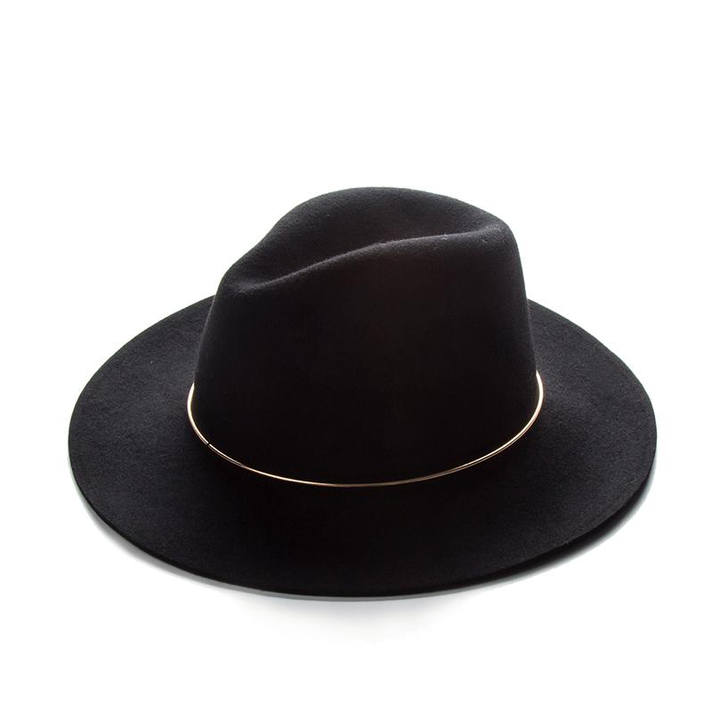 秋冬复古金属圈羊毛呢帽子韩版女欧美时尚爵士礼帽英伦大沿毛毡帽